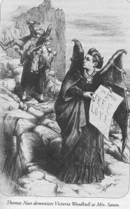 Cartoon showing Victoria Woodhull as Mrs. Satan