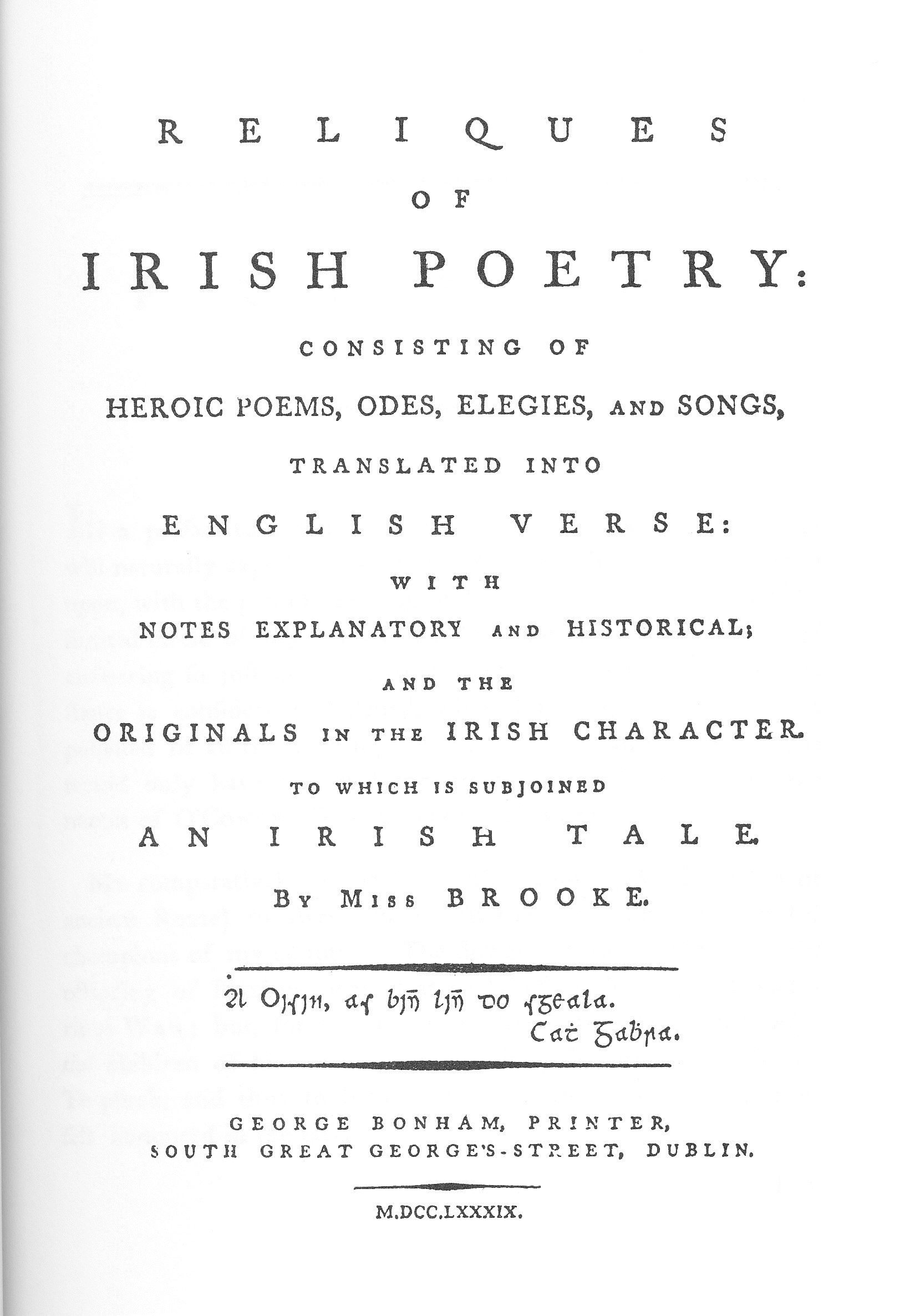 Charlotte Brooke The Woman Who Saved Irish Poetry