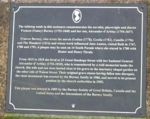 Fanny Burney's tombstone