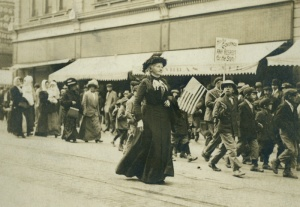 Mother Jones leading a union march  in Colorado