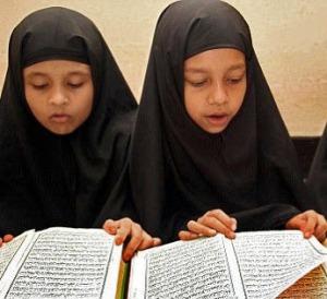 two Saudi girls in school