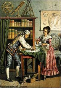 Caroline and William Herschel at work.