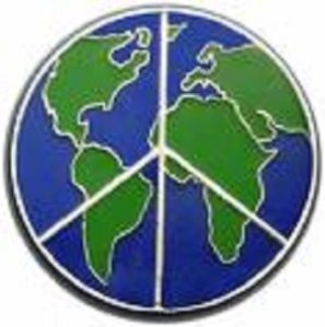 world globe with peace symbol