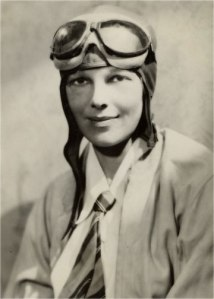 Amelia Earhart in flying gear.