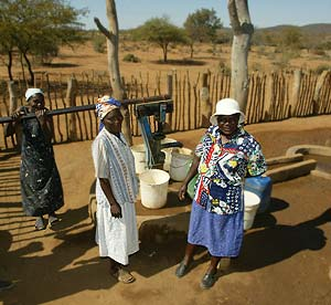 Zimbabwean women with a new well.